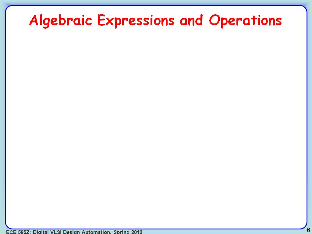 Algebraic Expressions and Operations