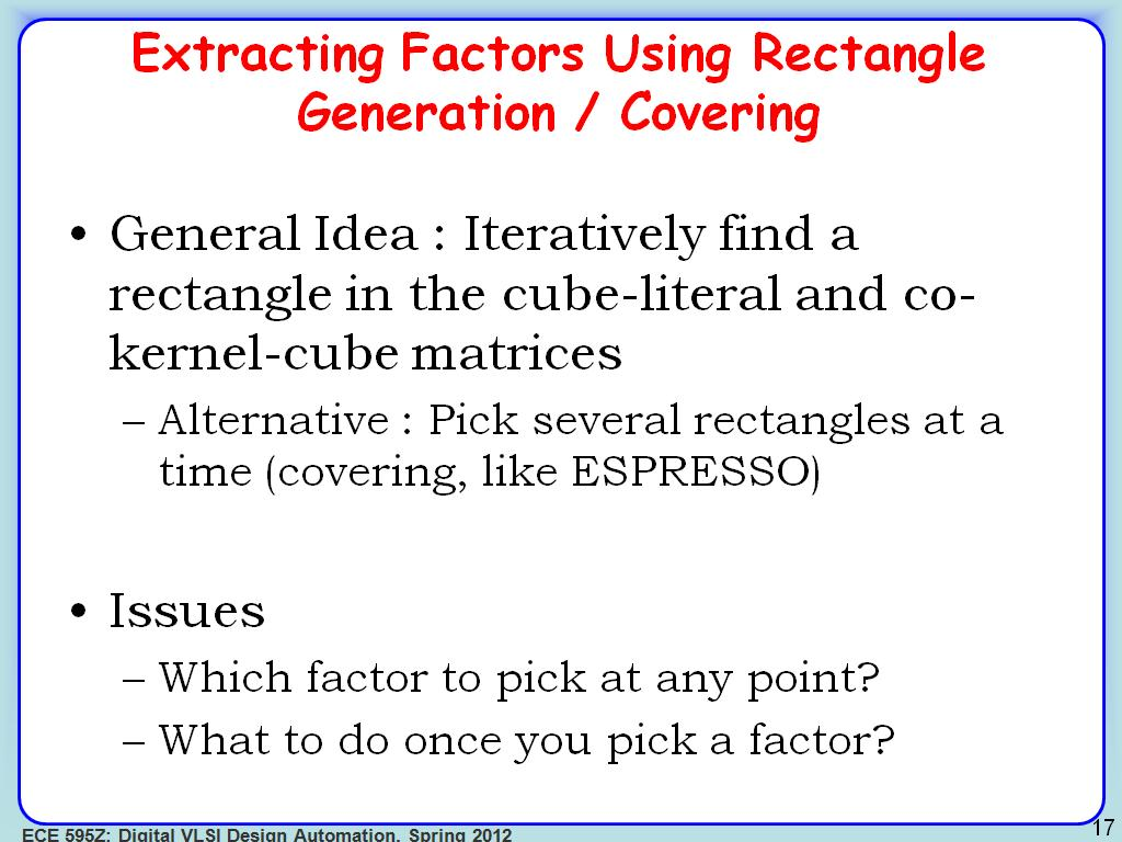 Extracting Factors Using Rectangle Generation / Covering