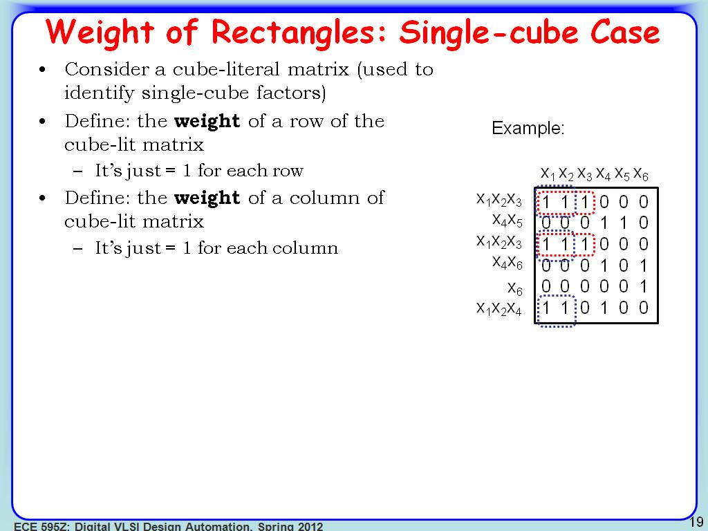 Weight of Rectangles: Single-cube Case