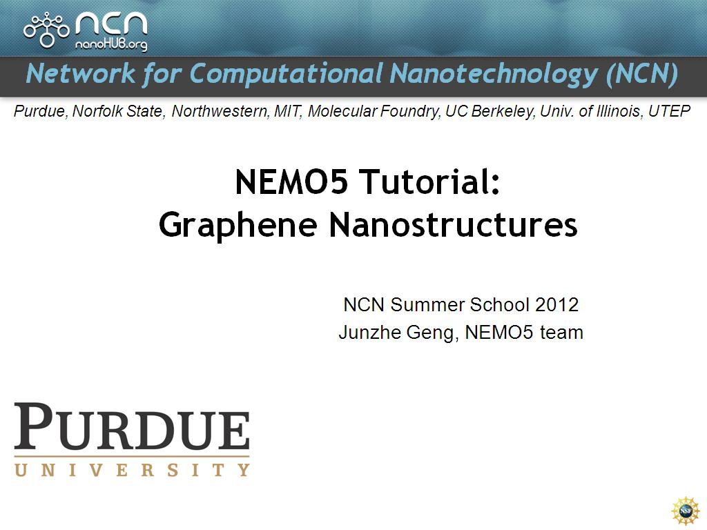 NEMO5 Tutorial: Graphene Nanostructures