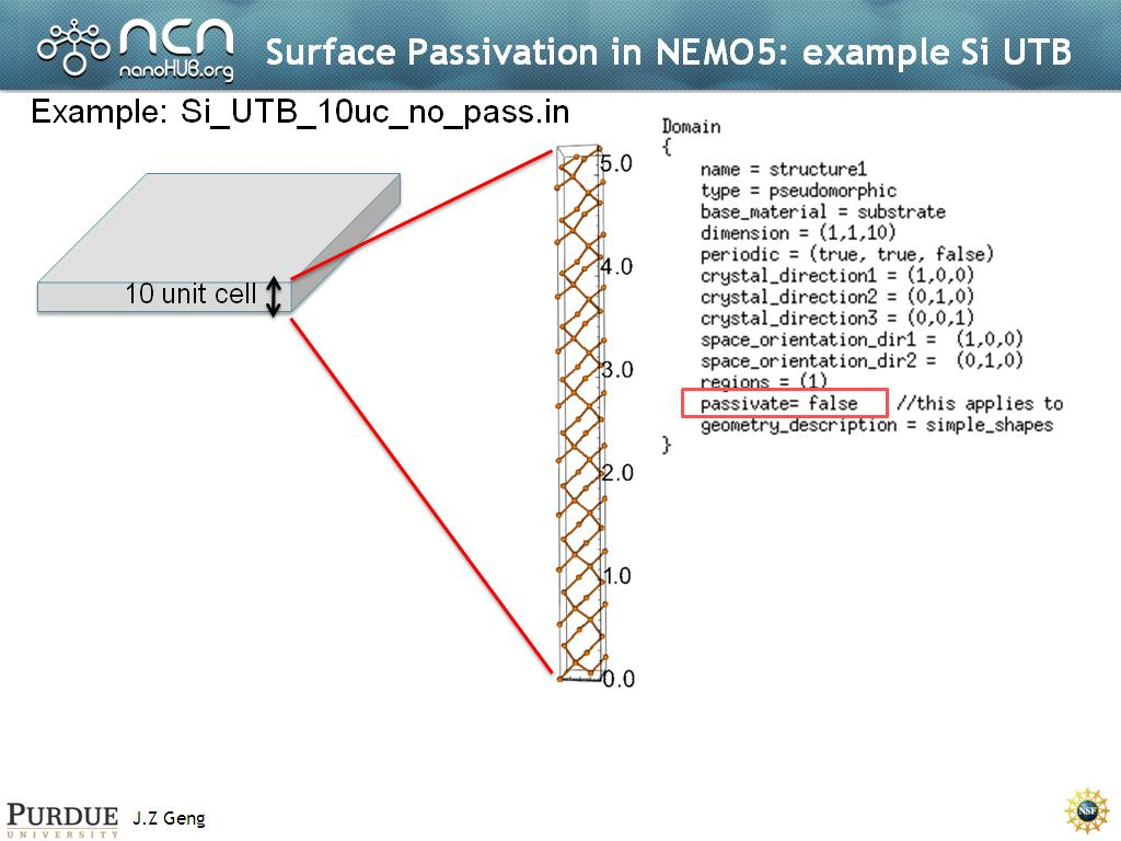Surface Passivation in NEMO5: example Si UTB