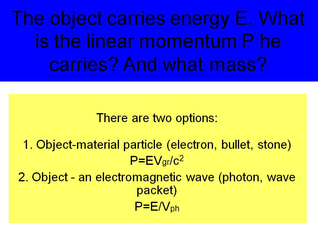 The object carries energy E.