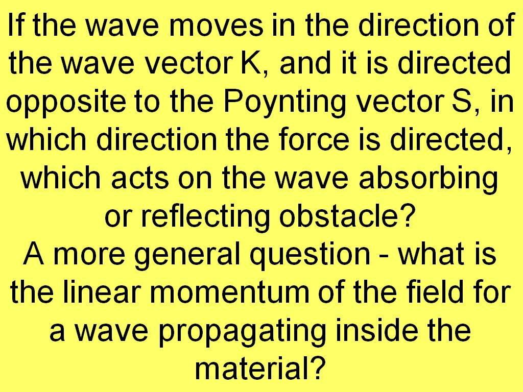 If the wave moves in the direction of the wave vector K, ...