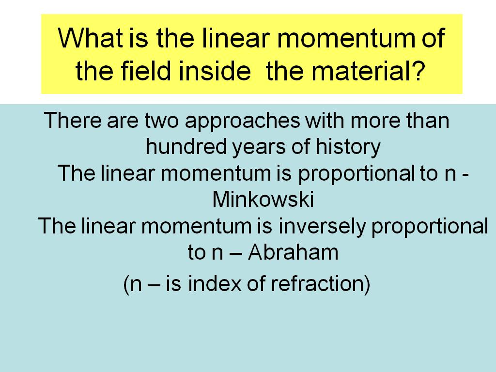 What is the linear momentum of the field inside the material?