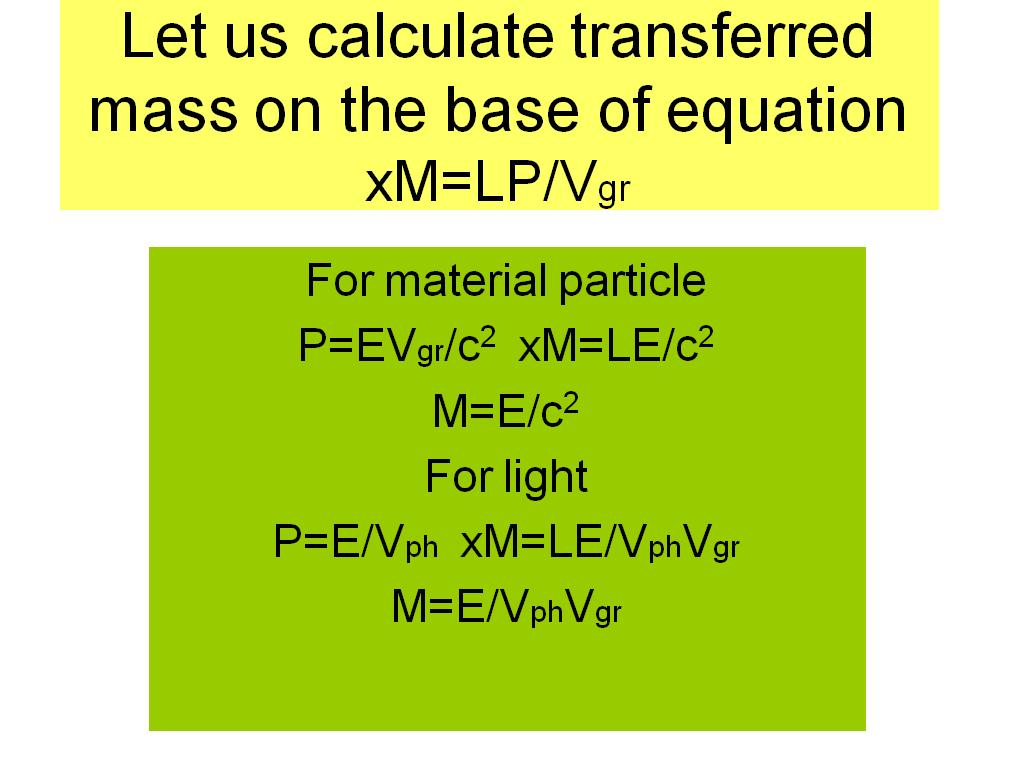Let us calculate transferred mass ...