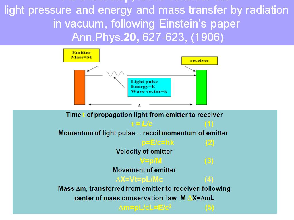 light pressure and energy and mass transfer by radiation in vacuum