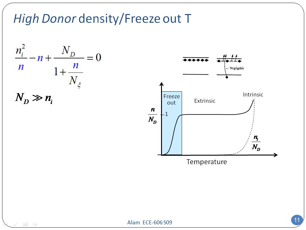 High Donor density/Freeze out T