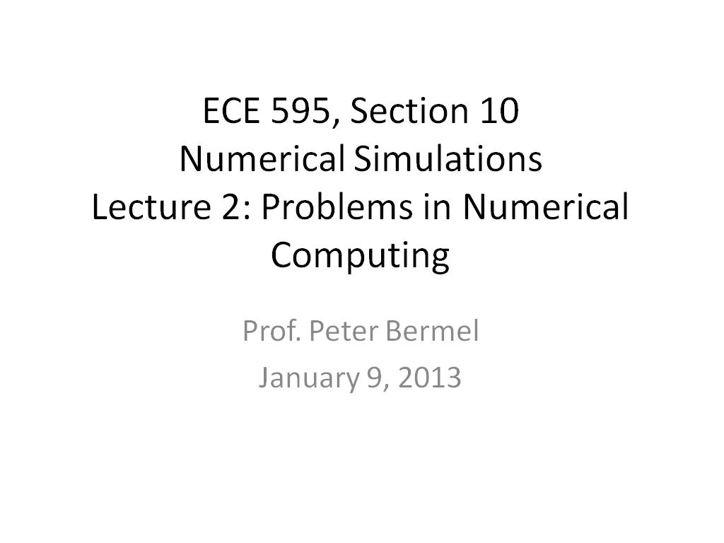 Lecture 2: Problems in Numerical Computing