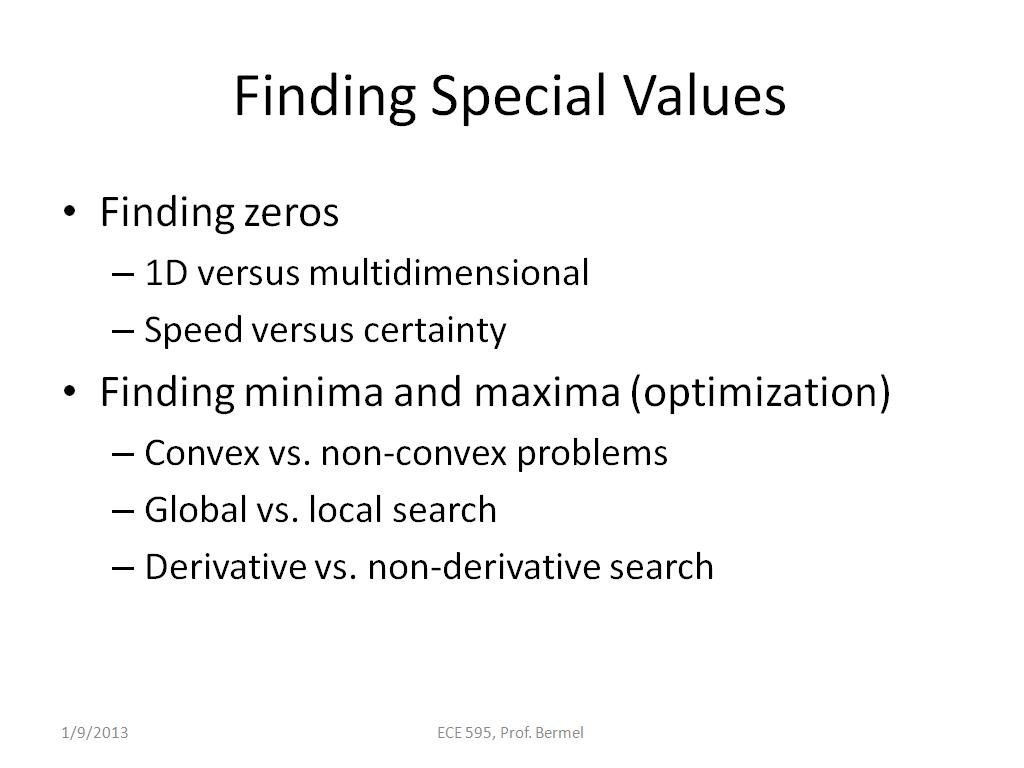 Finding Special Values