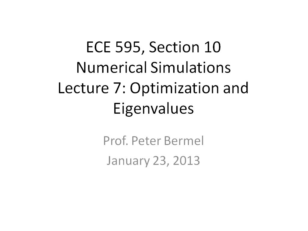 Lecture 7: Optimization and Eigenvalues