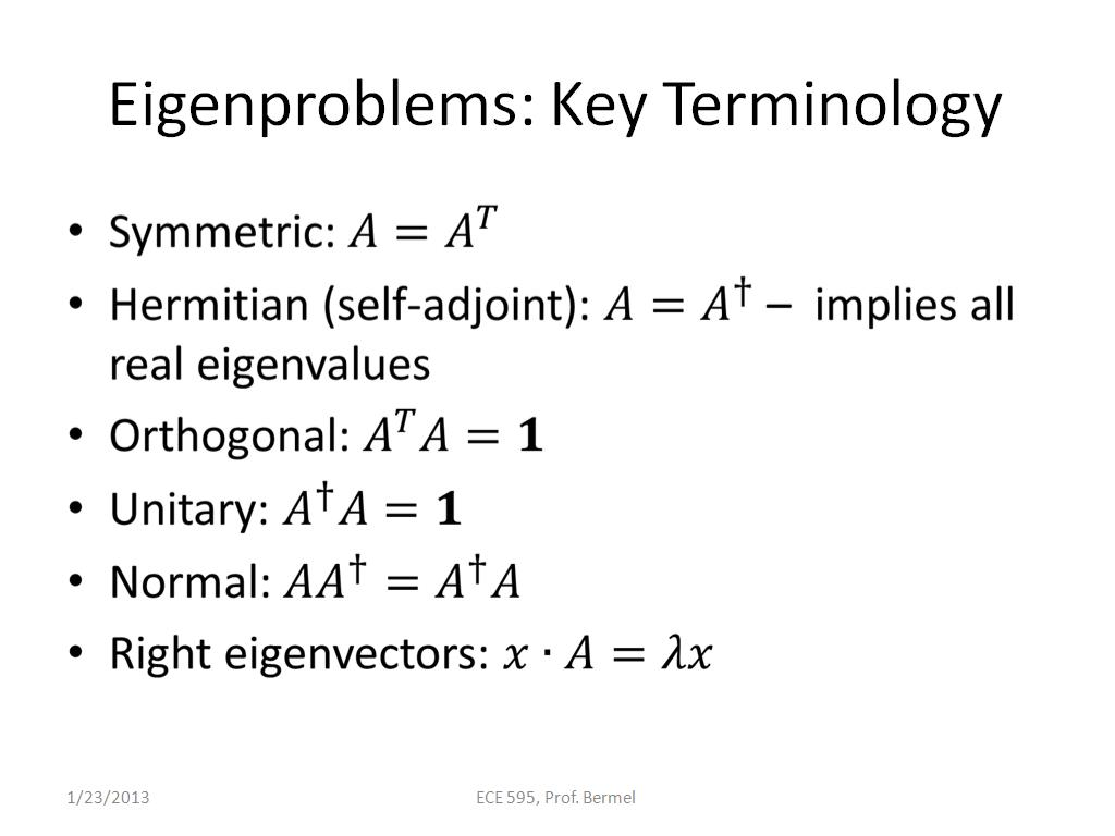 Eigenproblems: Key Terminology