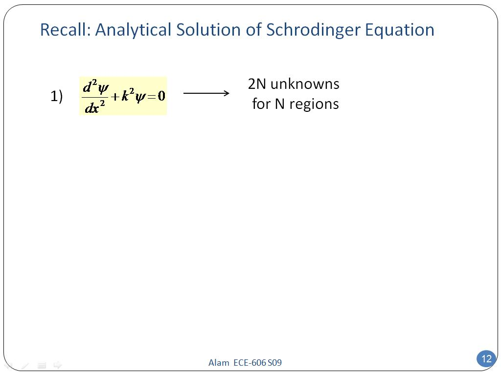 Recall: Analytical Solution of Schrodinger Equation