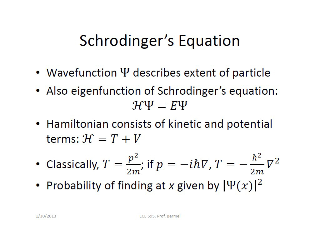 Schrodinger's Equation
