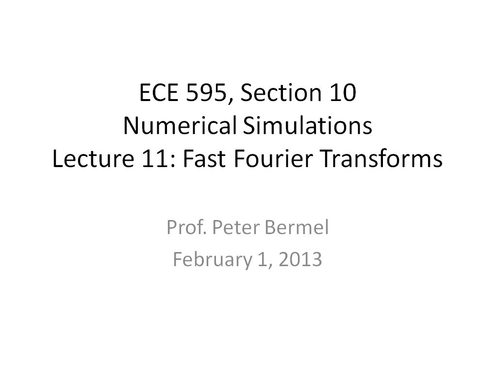 Lecture 11: Fast Fourier Transforms