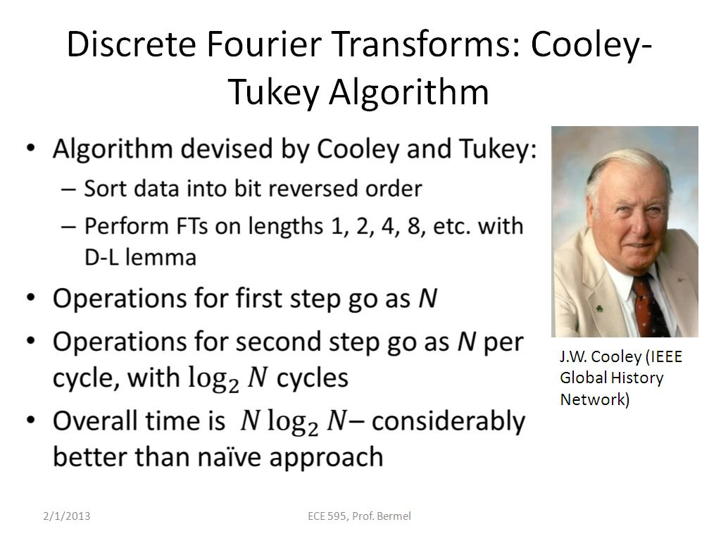 Discrete Fourier Transforms: Cooley-Tukey Algorithm