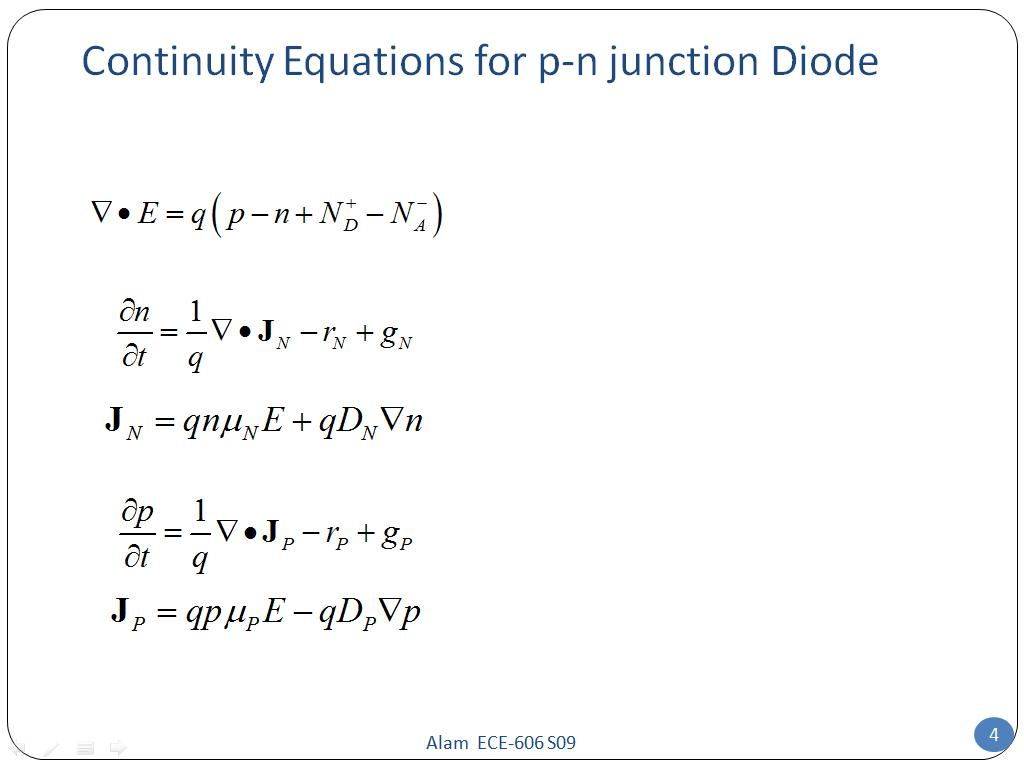 Continuity Equations for p-n junction Diode