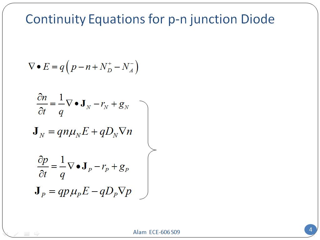 Resources Ece 606 Lecture 21 P N Diode I V Understanding The Pn Junction Continuity Equations For