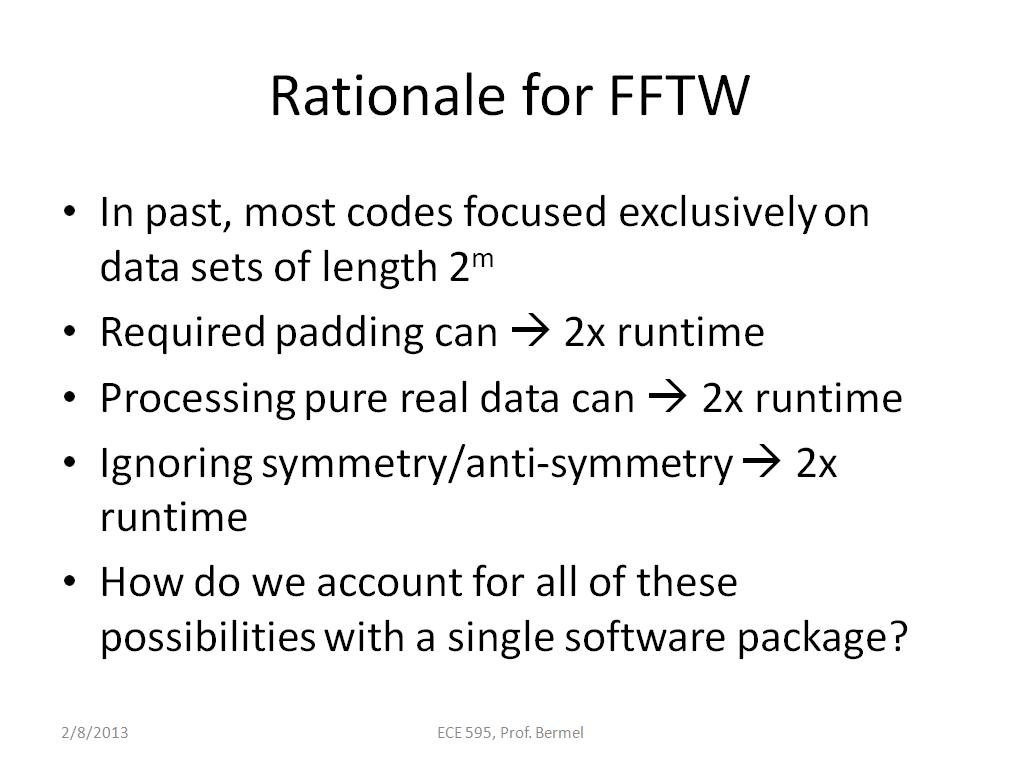 Rationale for FFTW