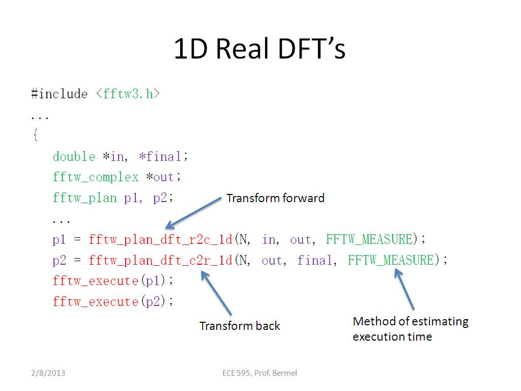 1D Real DFT's