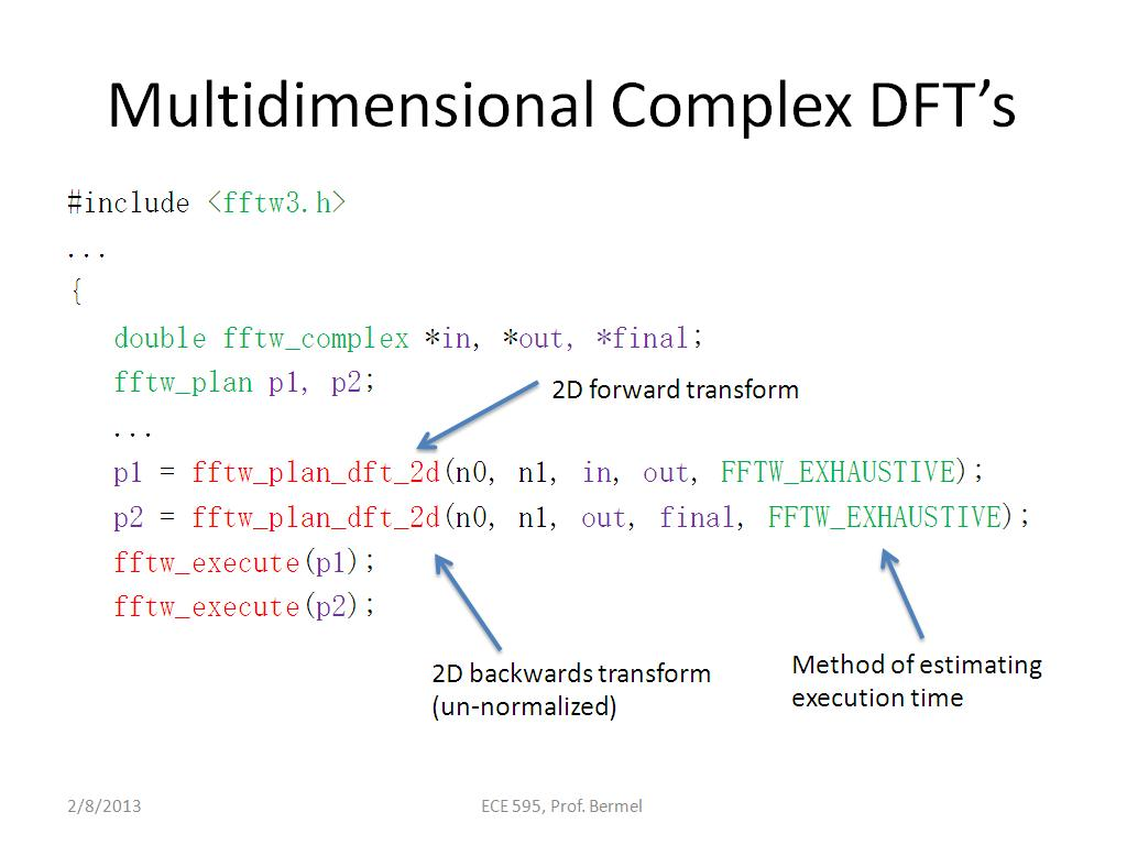 Multidimensional Real DFTs