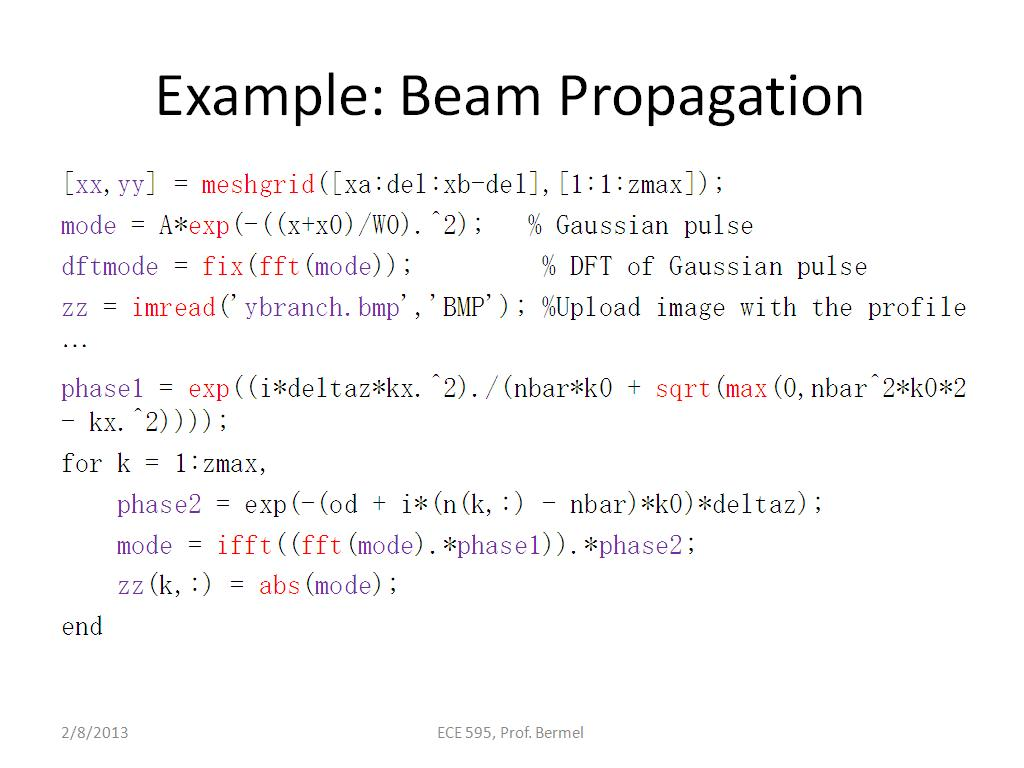 Example: Beam Propagation