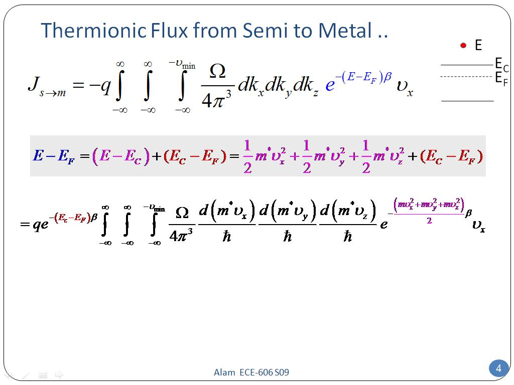Thermionic Flux from Semi to Metal ..