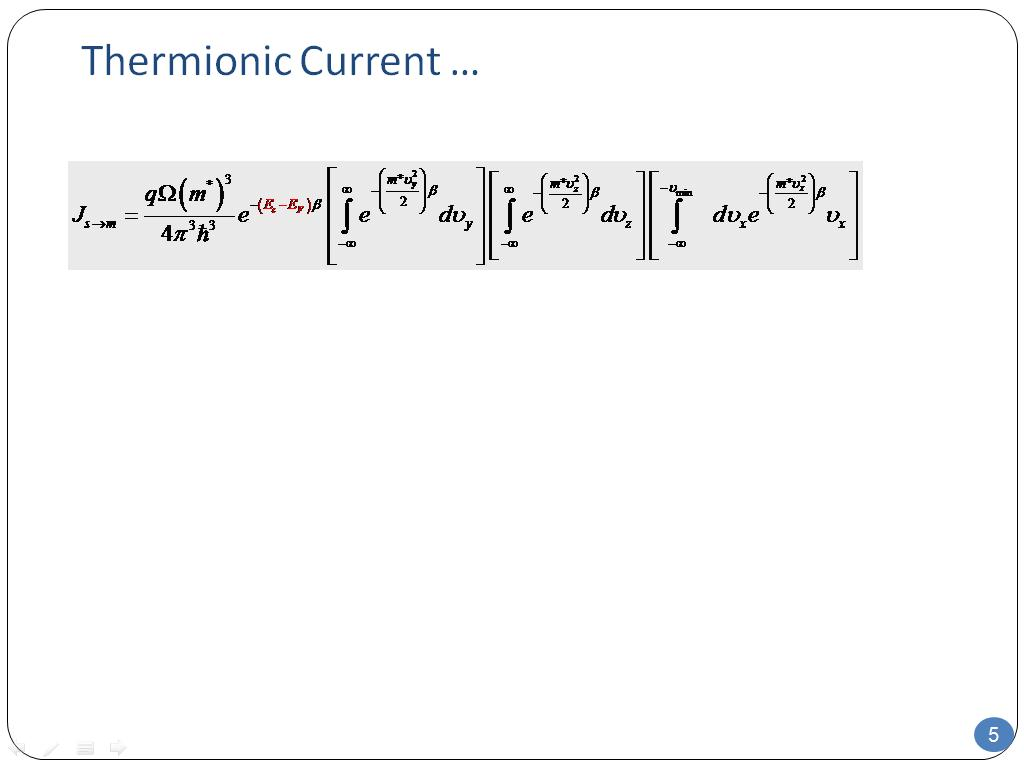 Thermionic Current …