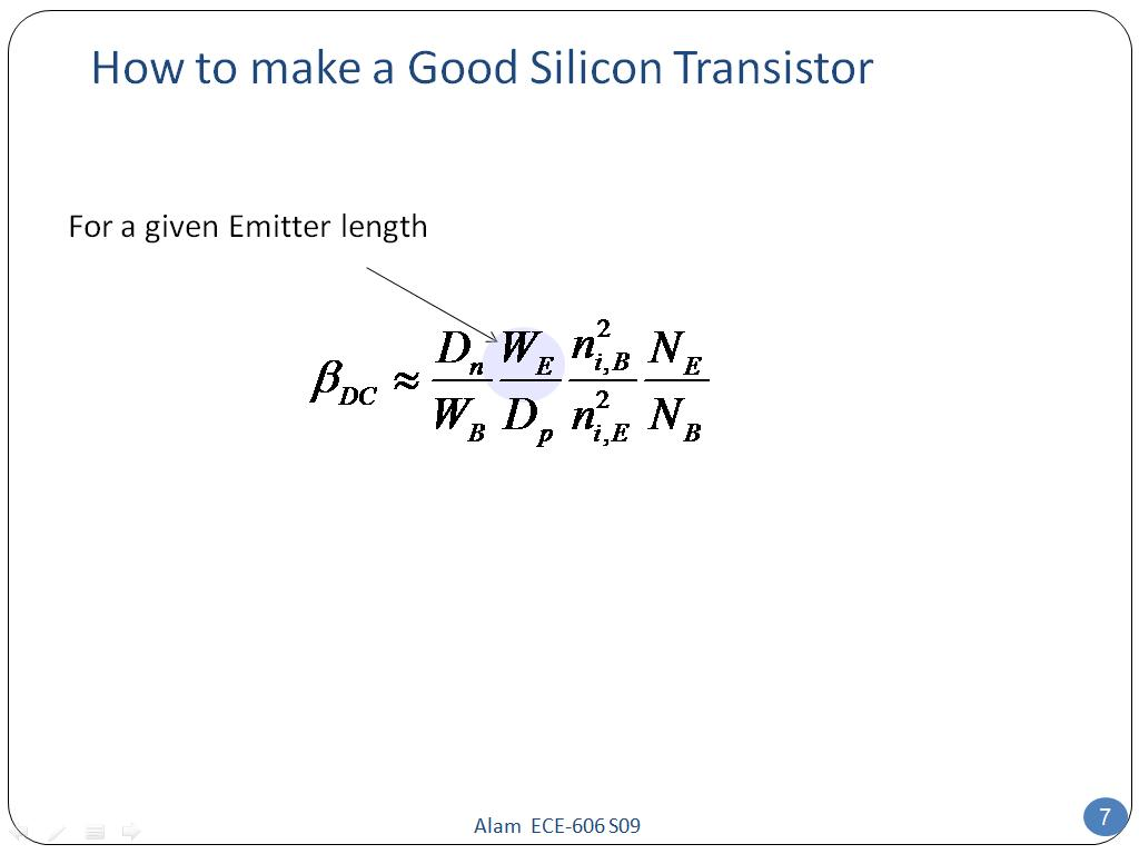 How to make a Good Silicon Transistor
