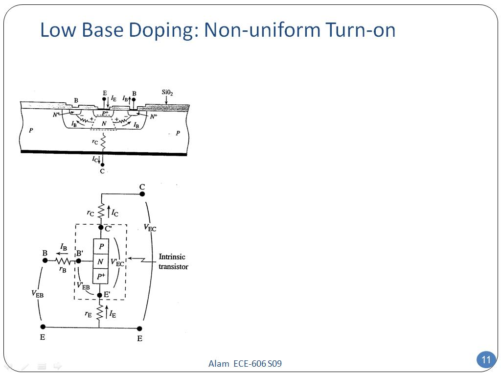 Low Base Doping: Non-uniform Turn-on