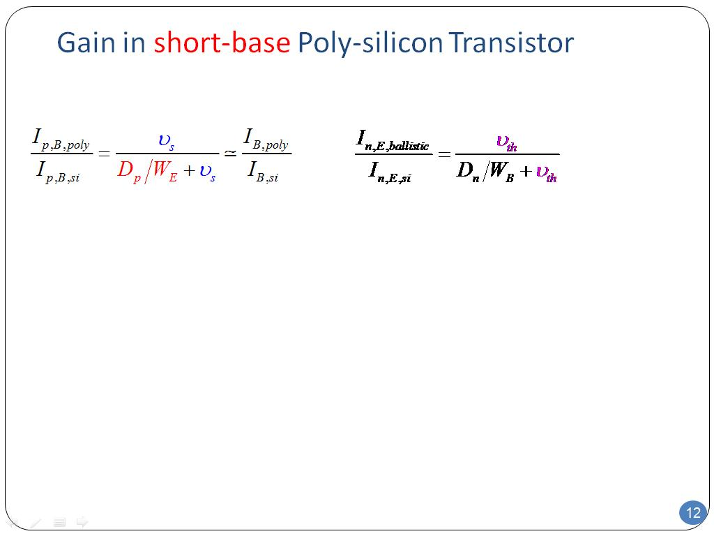 Gain in short-base Poly-silicon Transistor