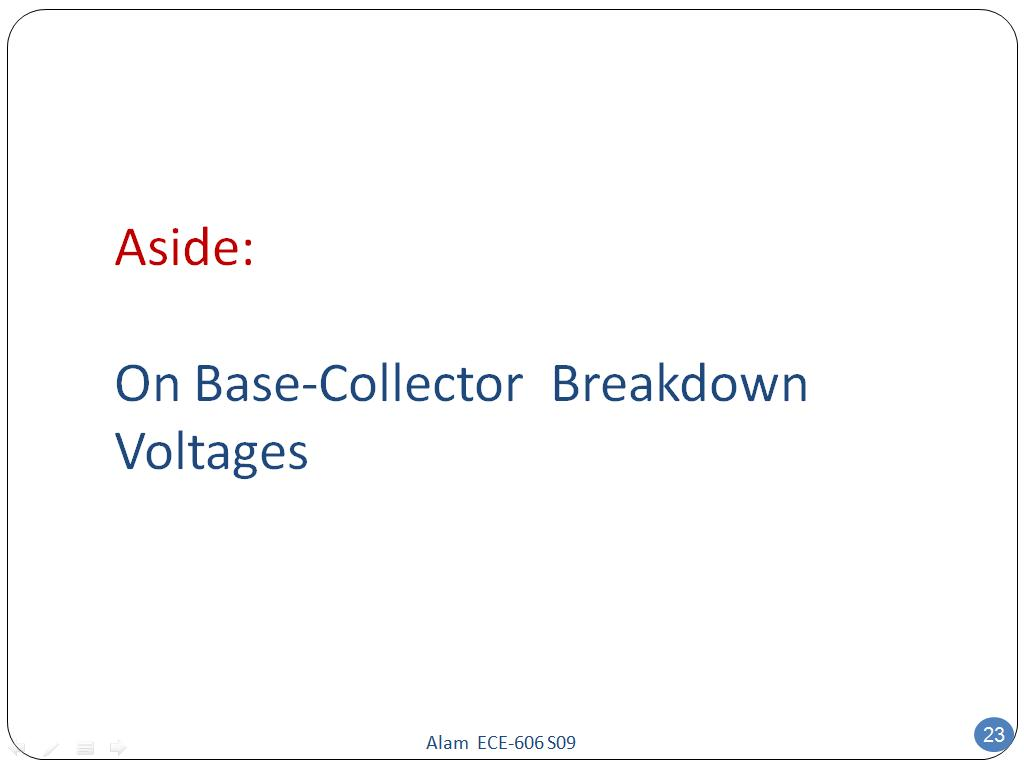 Aside: On Base-Collector Breakdown Voltages