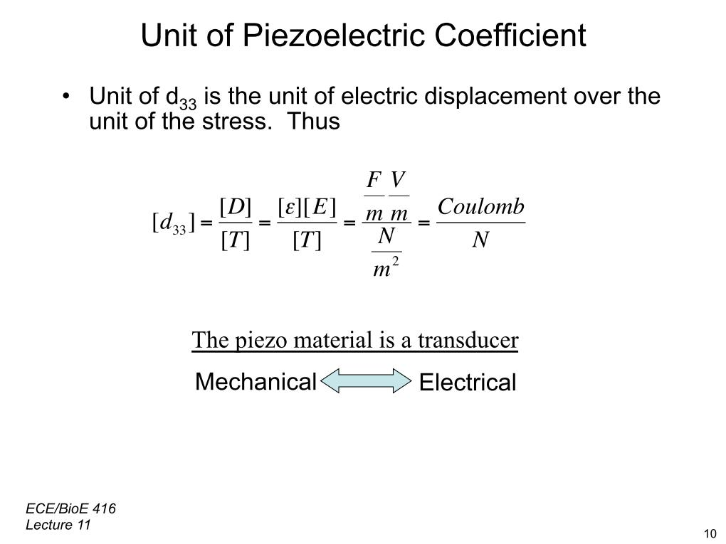 Unit of Piezoelectric Coefficient