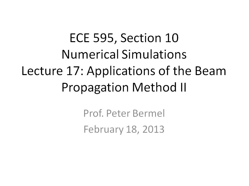 Lecture 17: Applications of the Beam Propagation Method II