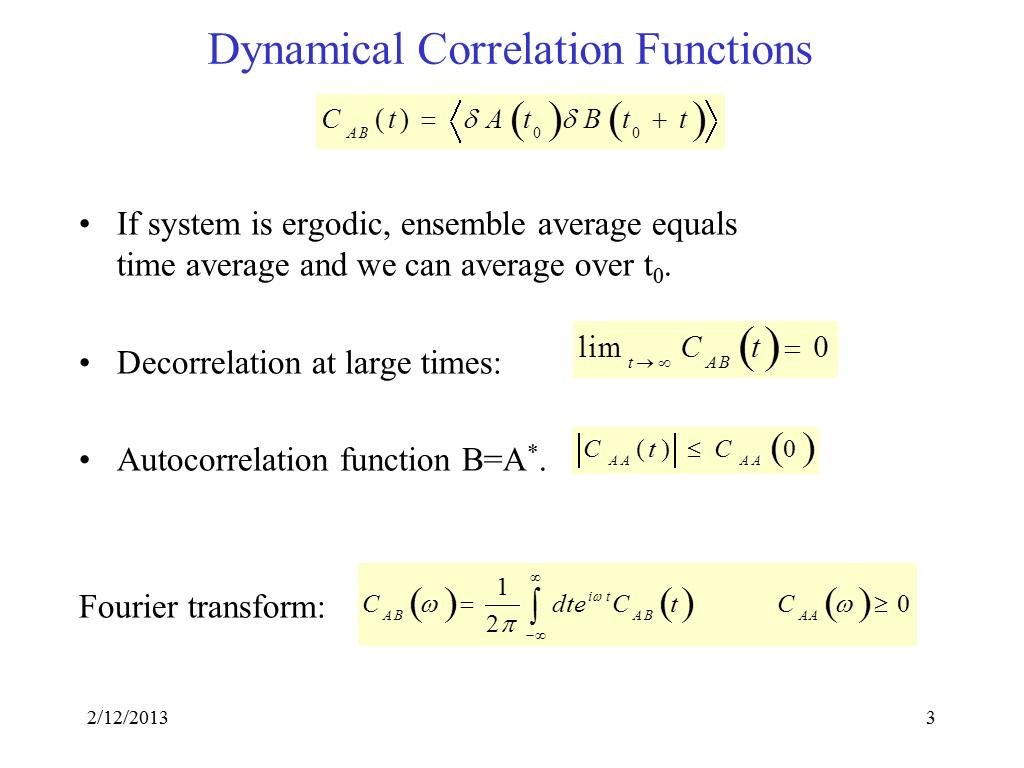 Dynamical Correlation Functions