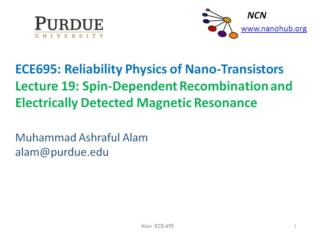 Lecture 19: Spin-Dependent Recombination and Electrically Detected Magnetic Resonance