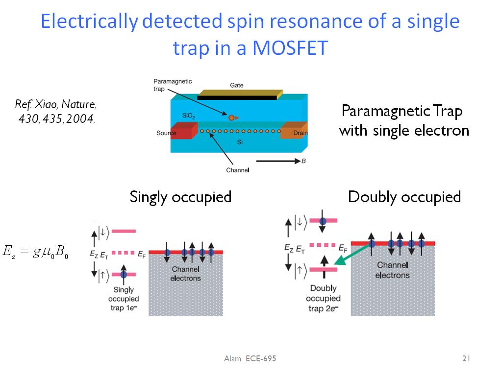 Electrically detected spin resonance of a single trap in a MOSFET