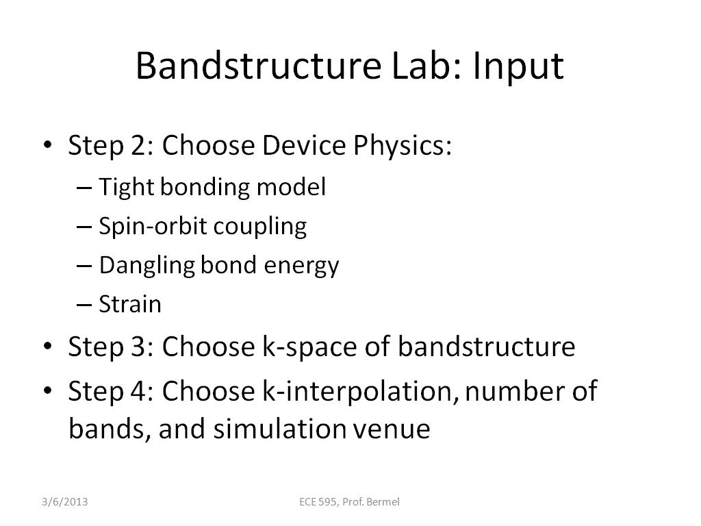 Bandstructure Lab: Input