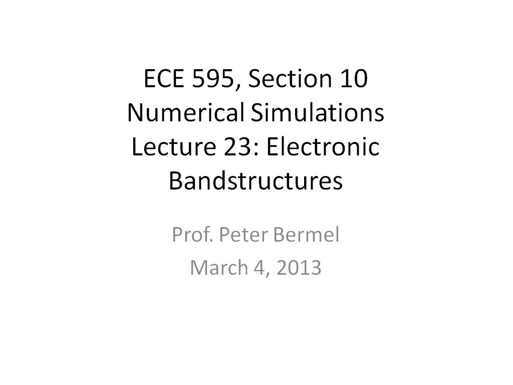 Lecture 23: Electronic Bandstructures