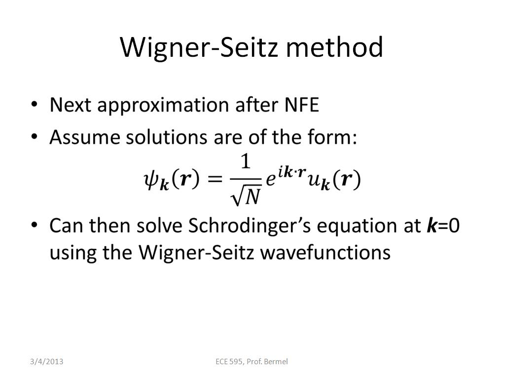 Wigner-Seitz method