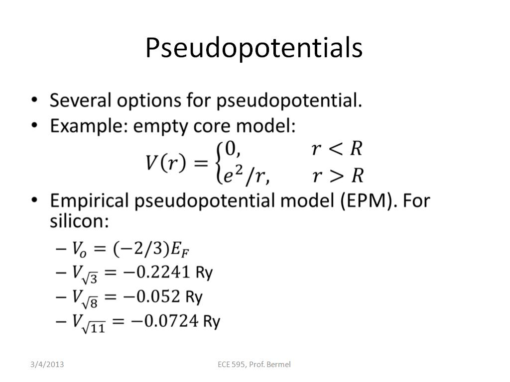 Pseudopotentials