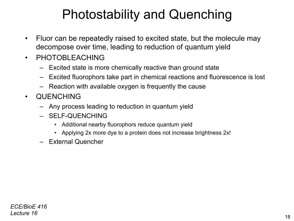Photostability and Quenching