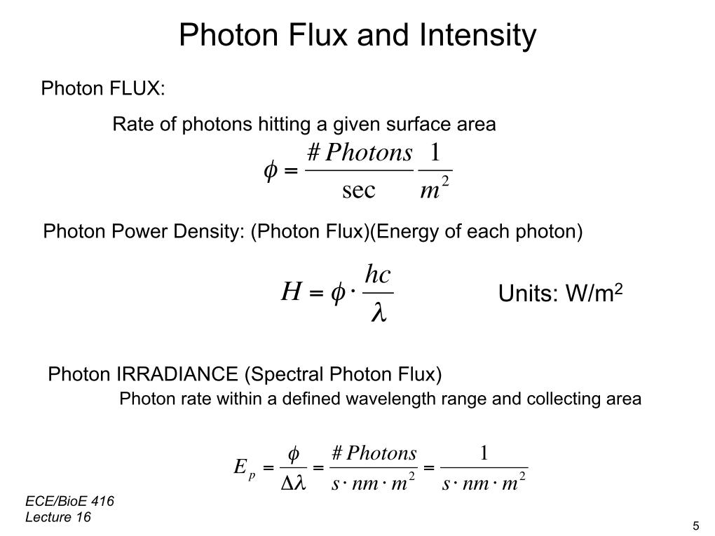 Photon Flux and Intensity
