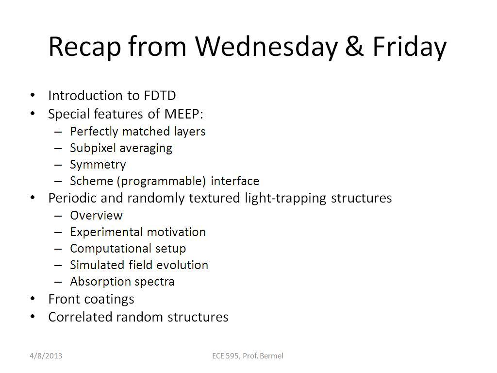 nanoHUB org - Resources: ECE 595E Lecture 35: MEEP Tutorial