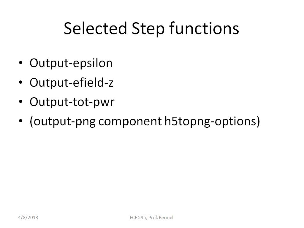 Selected Step functions