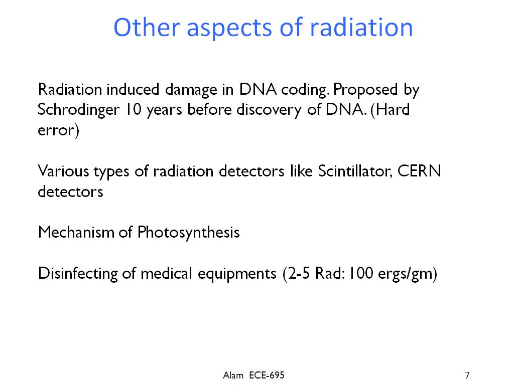 Other aspects of radiation