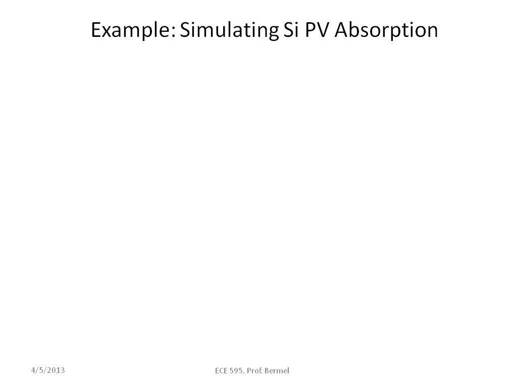 Example: Simulating Si PV Absorption