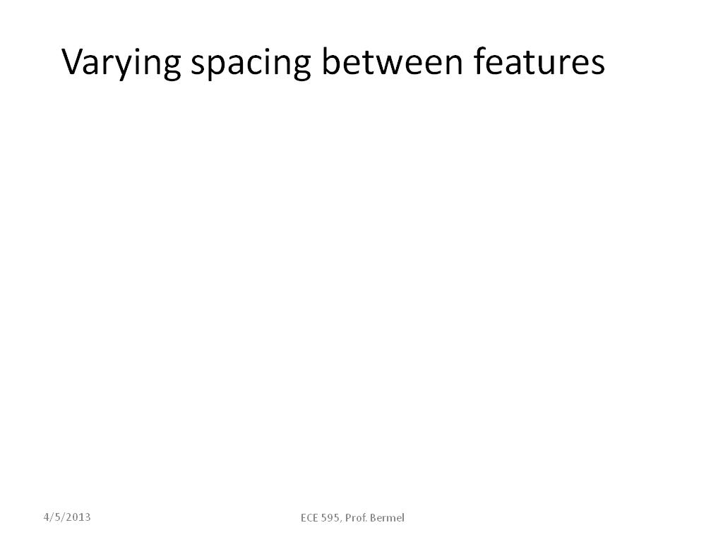 Varying spacing between features