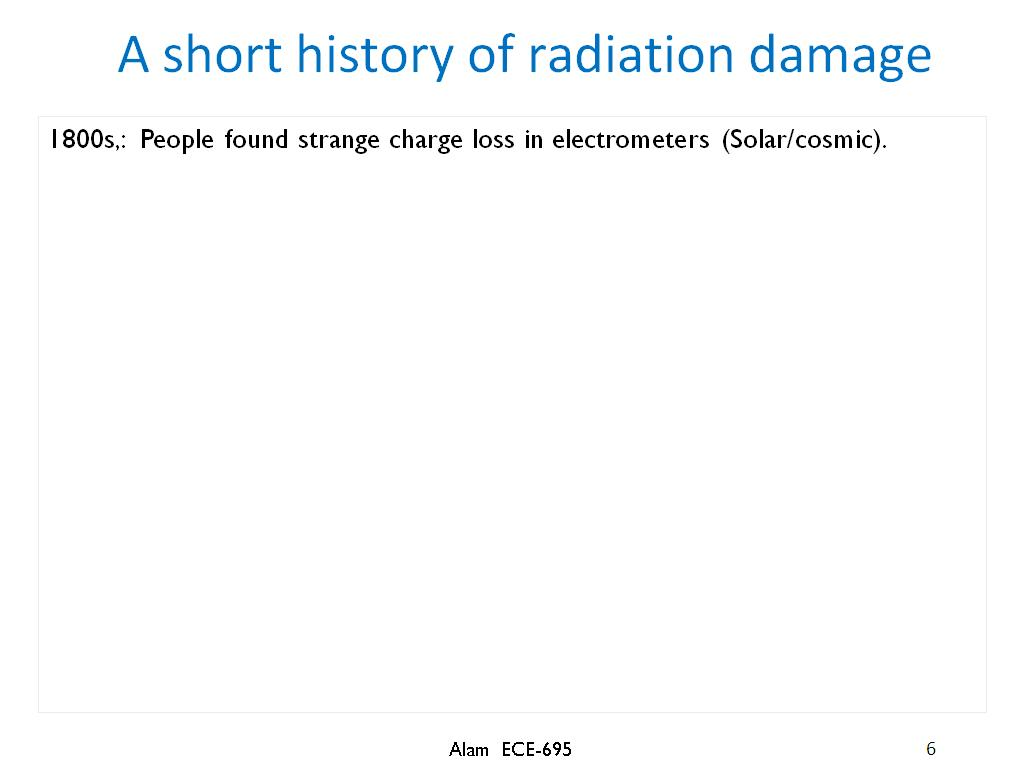 A short history of radiation damage