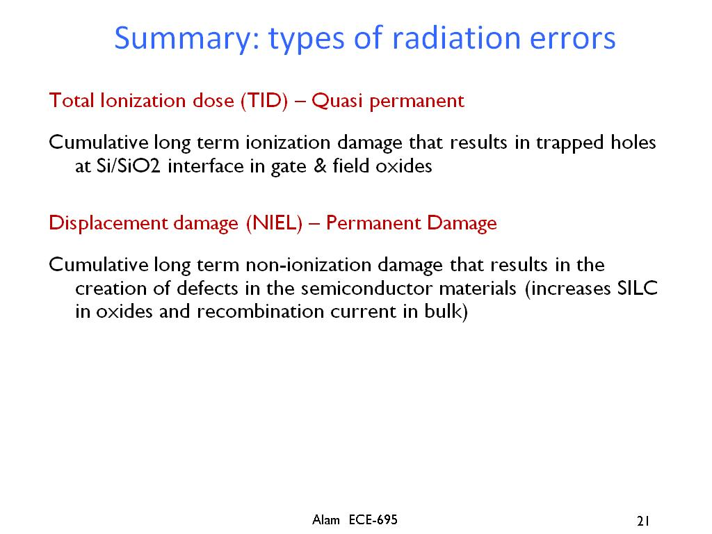 Summary: types of radiation errors
