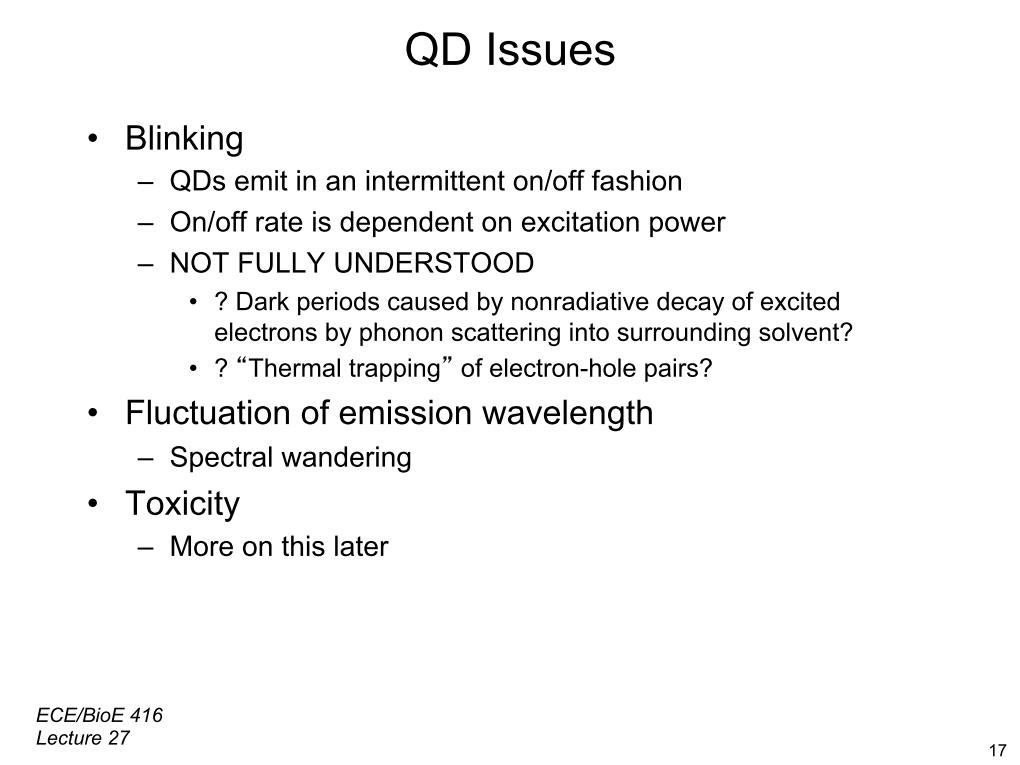 QD Issues •  Blinking